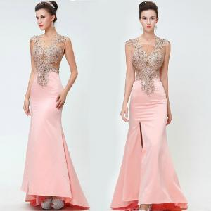 China 2014 New Sheath Gowns Pink Elegant Long See Thourgh Party Dress Embroidery Vestidos De Fiesta Vestido Longo Custom on sale