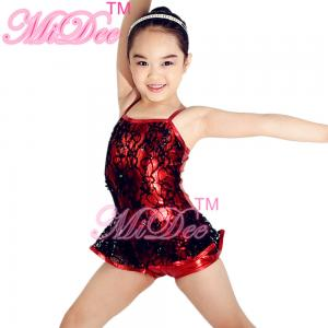 China Biketard Sequined Black Lace Over Matelic Jazz Tap Costumes for Children supplier