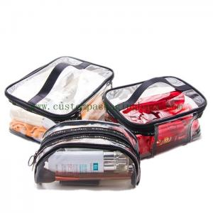 China Travel Luggage Pouch Custom Plastic Bags Printing Logo Transparent For Make Up Cosmetic on sale