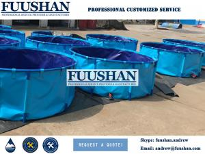 China Fuushan Strong PVC Cloth Collapsible And Recycled 5M3-30M3 Fish Farming Tank on sale