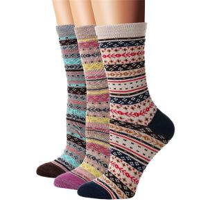 China Fashionable wholesale colorful vintage style cotton women socks on sale