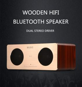 China High quality Wooden Mini Wireless Bluetooth Speaker with aluminium plate on sale