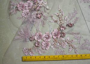 China Embroidered 55 Inch Peach Color 3D Floral Rose Lace Fabric With Beads And Sequins on sale