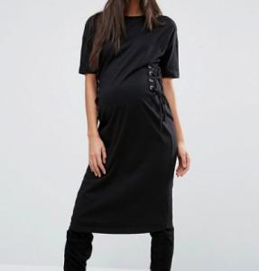 China Black Color Pregnant Women Outfits Long Maternity T Shirt Dress With Corset on sale