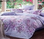 China Cotton Fabric Quilt Cover Bedding Sets Purple Floral Design Flat Sheet King wholesale