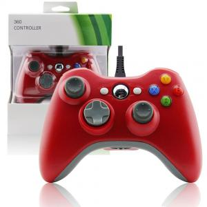 China Red Color XBOX 360 Game Controller Slim Wired Joystick 3 Levels Rumble Control on sale