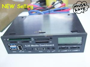"""Quality 5.25"""" USB 2.0 & 3.0 internal card reader multi function LCD Media Dashboard for sale"""