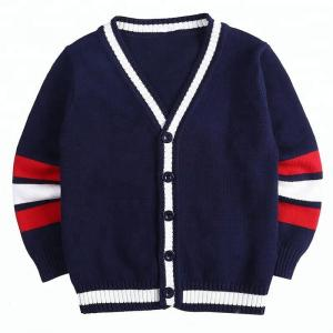 China Long Sleeve Breathable School Uniform Cardigan , Navy Blue Sweater For School on sale