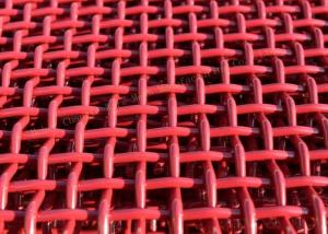 China Red Mining Nickel Steel Crimped Woven Wire Mesh For Quarries And Coal Yards on sale