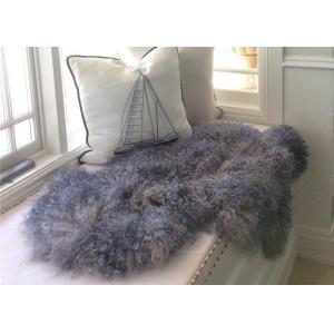 China Genuine Grey Tibetan Mongolian Sheepskin Lambskin Bed Runner Throw Multiple Color Soft on sale