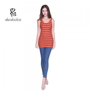 China Summer Comfortable Sleeveless Striped Womens Casual Clothing Plain Dyed on sale