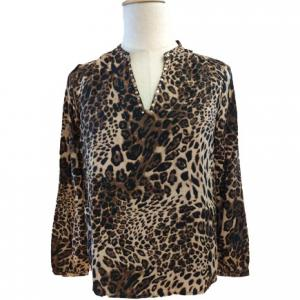 China V Neck Leopard Print Long Sleeve Women Casual Blouses on sale