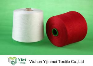 China Bright Red / White 100 Polyester Yarn Sewing Thread , Polyester Core Spun Yarn Knotless on sale