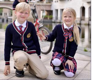 China 100% cotton Children's School Uniform Sweater long sleeve sweater V-neck sweater cardigan on sale