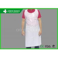 White / Blue / Pink Waterproof Plastic Disposable Aprons For Industry
