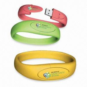 China Silicone Red yellow 4G 16G environmentally friendly Bracelet USB Flash Drive AT-051B on sale