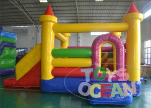 China Yellow Castle Inflatable Air Bouncer 2 Lanes Slides SGS CE Approved on sale