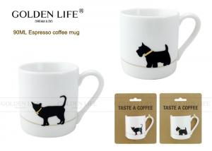 China Kraft Card Package Cappuccino Espresso Coffee Mugs With Small Cat / Dog Design on sale