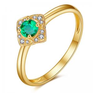China Green Emerald Engagement Rings In 18k Solid Yellow Gold Fine Jewelry on sale