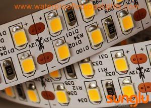 China Warm White 12v LED Ribbon Lights , Double Row 240D 12 Volt LED Tape Light on sale