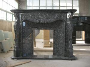 Black Fireplace Mental Flower Design Black Marble Fireplace For