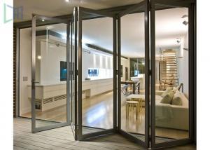 China Durable Double Glazed Glass Aluminium Folding Doors / Accordion Balcony Door on sale