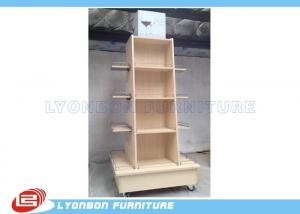 China Mobile Wine Wooden Display Stands MDF Melamine Display Stand With Casters on sale