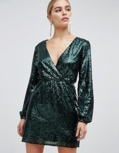 China OEM sequin wrap front long sleeve green skater dress on sale