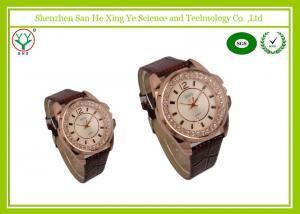 China Arabic Numerals Brown Retro Leather Wrap Watch With Debossed Logo on sale