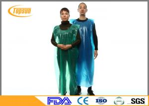 China Blue Disposable Plastic Kitchen Aprons PE Gown / PE Disposable Smocks on sale