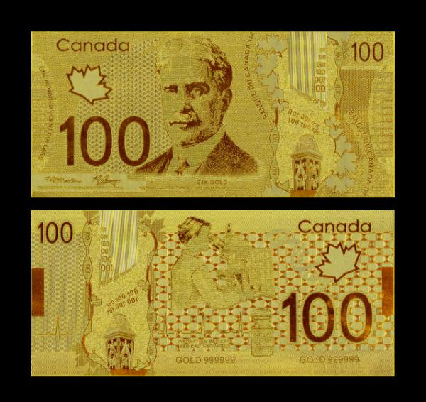 Craft Value Collectible Rare Canada Gold Plated Banknotes