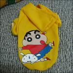 S amarillo, M, L personalizó el perro Hoddies con el creyón Shinchan
