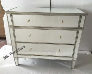 China 3 Drawers Silver Mirrored Nightstand?, Bedroom Mirrored Glass Bedside Table on sale
