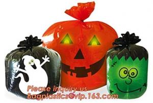 China Disposable Halloween Pumpkin Leaf Trash Bags Yard Decor Party Jack-O-Lantern on sale