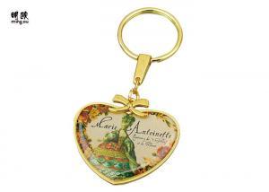 China Плакировка металла ключевого кольца винтажного сердца форменная, цепь фото стикера эпоксидной смолы ключевая on sale