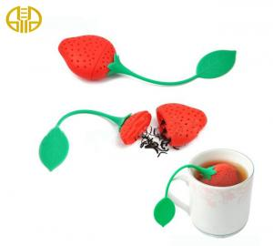 China Lovely Silicone Strawberry Tea cup Infuser , Red And Green Leaf on sale
