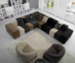 Quality Fashional Grey / Purple / Brown Modern Fabric Sofas, Color  Combination Sofa For Sale ...