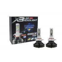 China Phi-zes 360° Angle 50W 6000LM Three Colors Aviation Aluminum X3 IP67  LED Car Headlight Bulbs With Lens on sale