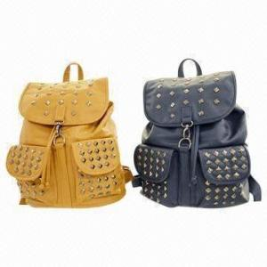 China Durable Womens Canvas Backpack With Polyester Lining / PU Backpacks With Shiny Rivets on sale