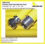 Tuyau extensible ondulé d'acier inoxydable pour le gaz 1/2 «, 3/4, 1, enduit jaune
