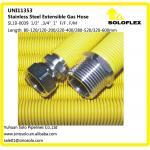 """Mangueira elástico ondulada de aço inoxidável para o gás 1/2 """", 3/4, 1, revestido amarelo"""