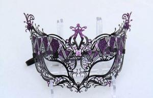 China Purple / Red / Blue Metal Filigree Masquerade Mask For Costume Party on sale