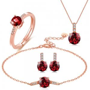 China Rolo Chain Gemstone Jewelry Sets Chain Necklace Bracelet Ring Earrings 925 Silver on sale