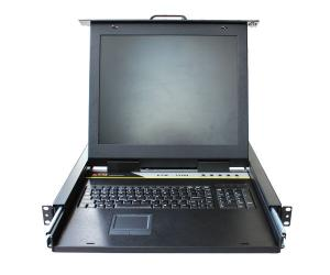 China Steel Plate 1U Rack Mount 15 TFT LCD W/ 8 Port KVM Switch LCD KVM Drawer KVM-1508M on sale
