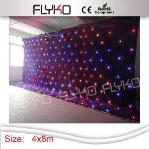 China 4X 8 Meters Fireproof Black Velvet DJ LED Star Curtain , Led Star Cloth Curtain on sale