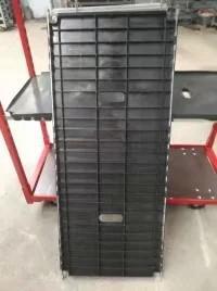 China Nursery CC Racks Mesh Flower Cart Greenhouse Trolley Plant Cart Plywood Shelf on sale