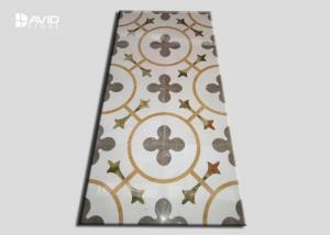China Rectangle Water Jet Marble Floor Medallions Simple Flower Patter Design on sale