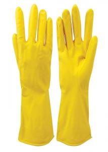 China Yellow Reusable Hand Protection Gloves Flock Lined Latex For house Cleaning on sale