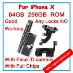For iPhone X 10 100% Unlocked Original Motherboard With Face ID 64GB 256GB IOS Logic board With Full Chips Mainboard For