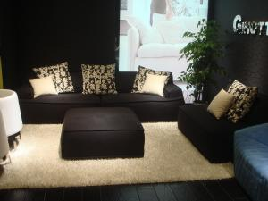 Quality Modern Hotel Lobby Sofas , Black Leisure Modern Fabric Sofa , Leisure style sofa for sale
